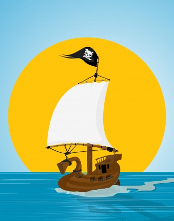 Illustration of a pirate ship sailing the see
