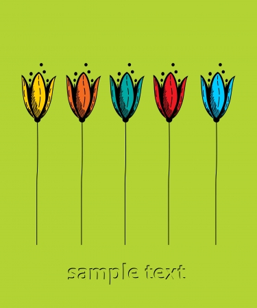 Stylized tulips text card, invitation Stock Vector - 16530235