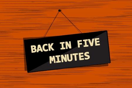 Back in five message board grunge sketch Stock Vector - 16682200