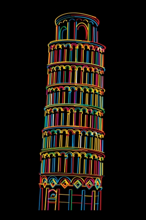 the leaning tower of pisa: Stylish design of Pisa tower over black background Illustration