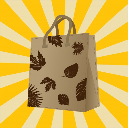 Shopping bag with leaf silhouettes design Stock Vector - 16682201