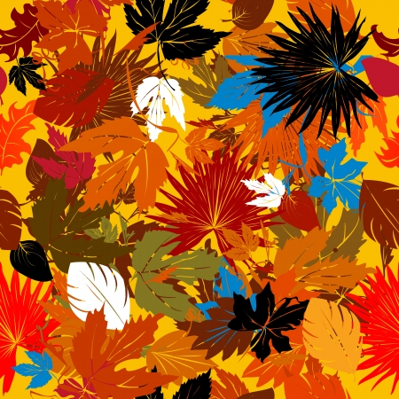 Decorative background with falling leaves,  seamless pattern Vector