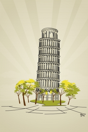 Stylish design of Leaning tower of Pisa from Tuscany, Italy