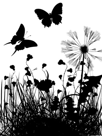 Meaddow and butterflies silhouettes over white background Stock Vector - 16682210