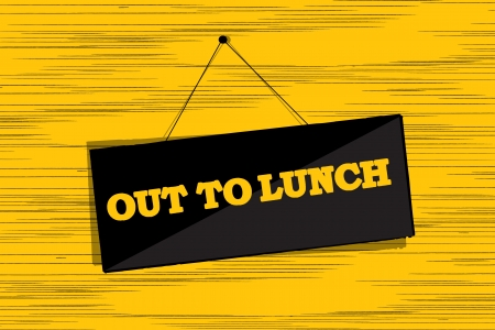 Out to lunch message board grunge sketch Stock Vector - 16682209