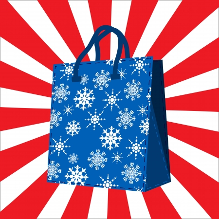 Wintersales shopping  bag with snowflakes silhouettes design Stock Vector - 16682203