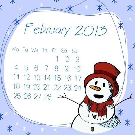 February 2013 calendar with saluting snow man. Stock Vector - 16796457