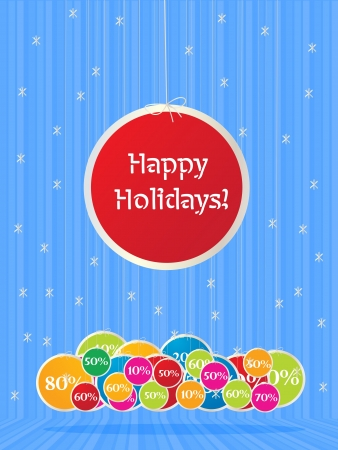 Illustration of a happy holiday sign over several sales labels in colors. Stock Vector - 16796460