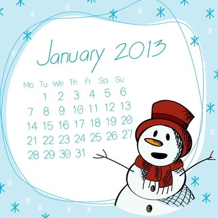 January 2013 calendar with saluting snow man. Vector