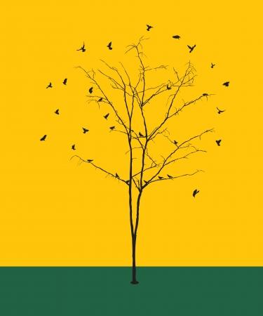 arboles secos: Ilustración conceptual gráfico con una silueta invierno árbol sin hojas y pájaros.