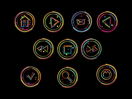 Sketch of web buttons in colors. Stock Vector - 16796456