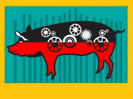 Conceptual pop art illustration of a pig with cog wheels and graphic stat Stock Vector - 16796469
