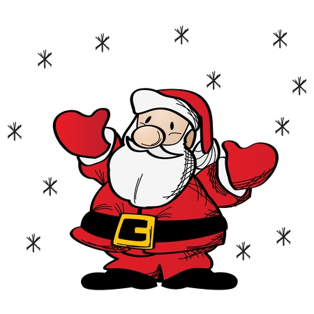 Fat Santa Claus clip art drawing over white Stock Vector - 16796467