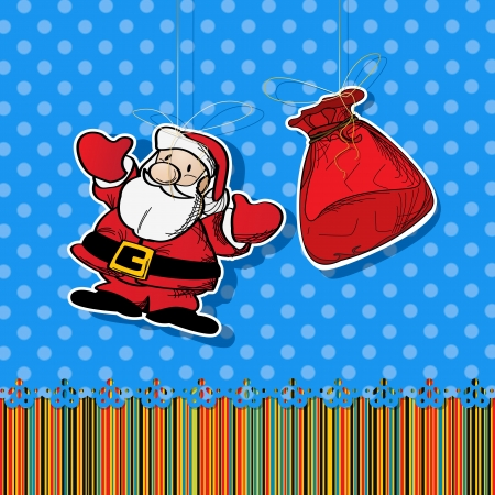 Stickers with santa and gift bag  Graphic art Stock Vector - 16796471