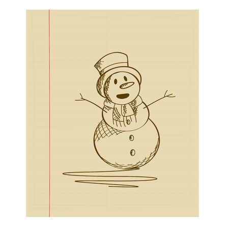 Doodle sketch drawing of a fancy snow man Stock Vector - 16796468