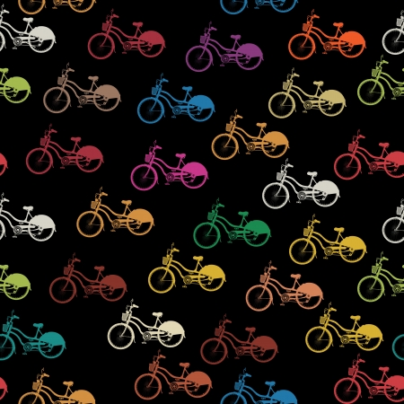 Seamless background pattern with colored bicycles Vector