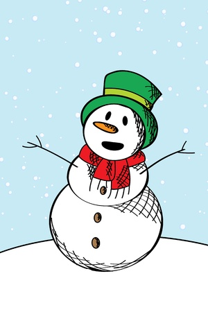 Winter celebration card with a very happy snow man Stock Vector - 16900639