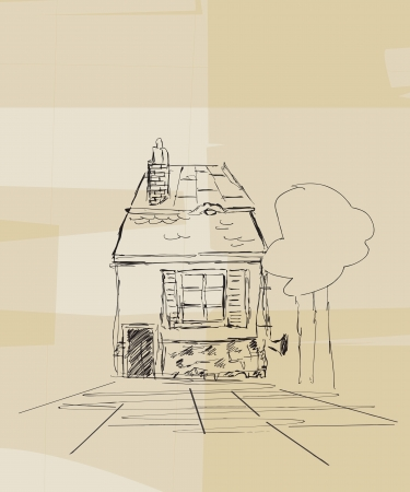Grunge style sketch of a small Romanian house with trees Vector