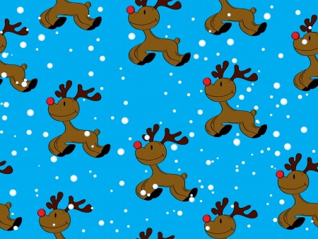 Seamless Christmas seamless pattern with red nose Rudolph and snow Stock Vector - 16900641