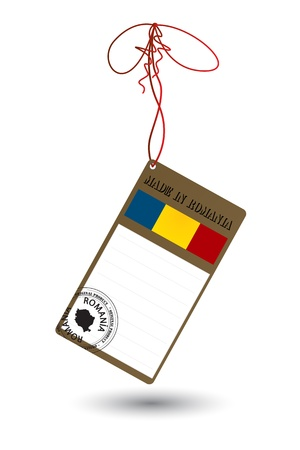 Price tag with Romanian flag and stamp on white Vector