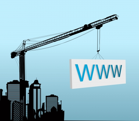 www at sign: Conceptual graphic with a large tower crane with www sign Illustration