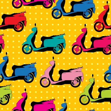 Comic style drawing of a scooter seamless pattern in colors Vector