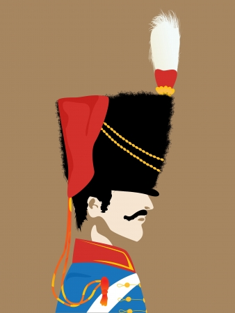 bearskin hat: Profile of a officer from Napoleonic wars