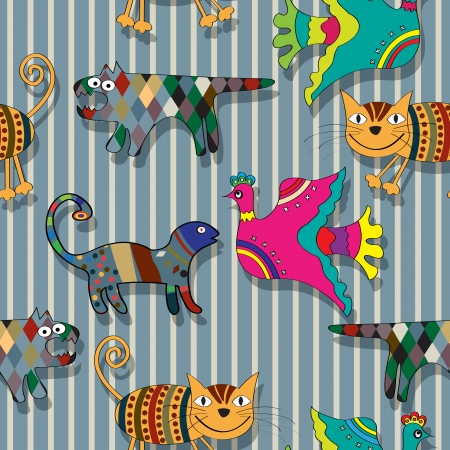 Seamless childlike drawing of animals in colors, abstract art Vector