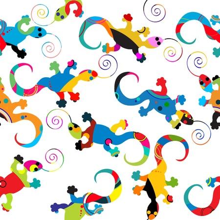 salamandra: Patrón de fondo sin fisuras con gecko hecho de círculos Vectores