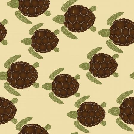 green turtle: Seamless pattern con le tartarughe marine di nuoto