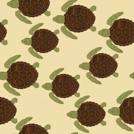 Seamless pattern with swimming sea turtles Vector