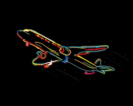 Funky airplane drawing against black background Vector