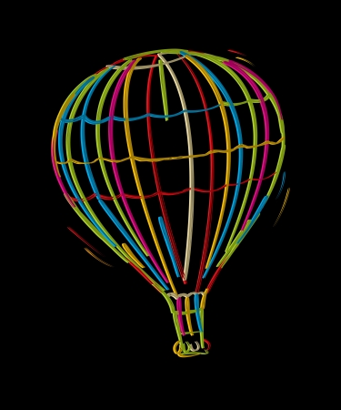 Hot air floating balloon, colored sketch against black background Vector