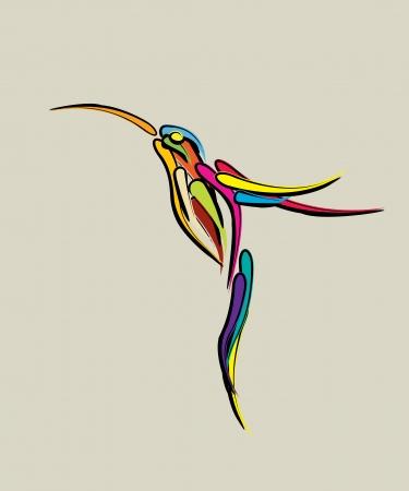 birds of paradise: Stylized humming bird illustration  Abstract art