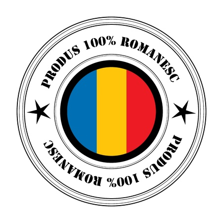 romania flag: Illustration of a fresh romanian product rubber stamp with the inscription Produs%Romanesc.