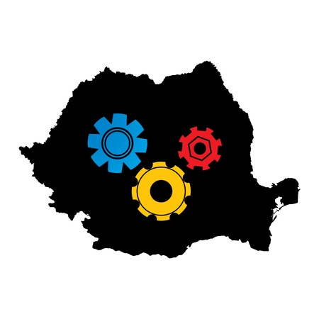 Conceptual graphic icon of Romania map with working gears in flag colors. Stock Vector - 17230688
