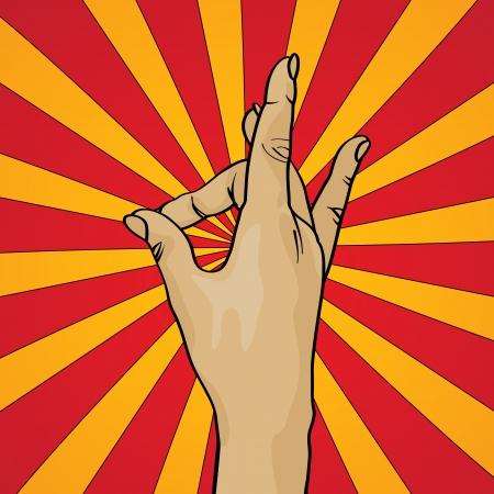 b�n�diction: Dessin de style r�tro d'une main b�n�diction