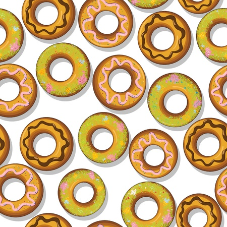 Seamless pattern with tasty donuts  Stock Vector - 17288236