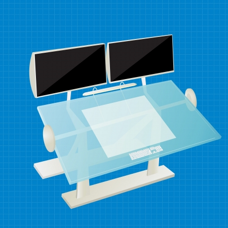 Futuristic work station for a architect, designer.  Stock Vector - 17356948