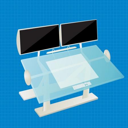 Futuristic work station for a architect, designer. Stock Vector - 17356948