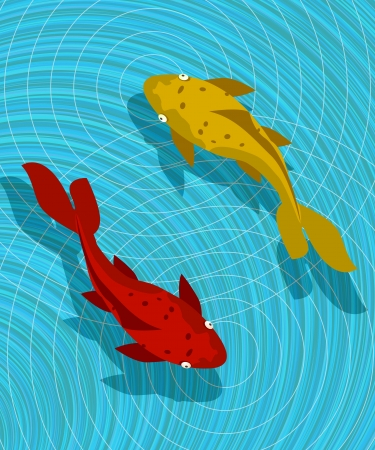 fish pond: Koi fish graphic, abstract art. Illustration