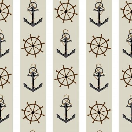 roer: Naadloze achtergrond patroon met anker en roer.