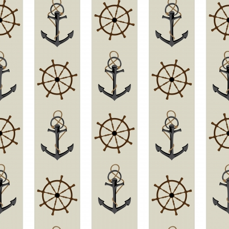 Seamless background pattern with anchor and helm.  Vector