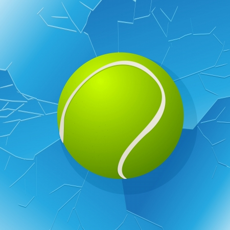 Cracked window with tennis ball in. Stock Vector - 17356950