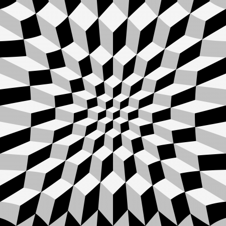 patter: Abstrat warped cube background, op art Illustration