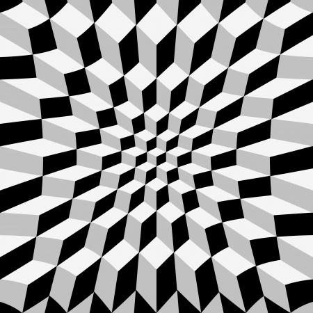op: Abstrat warped cube background, op art Illustration