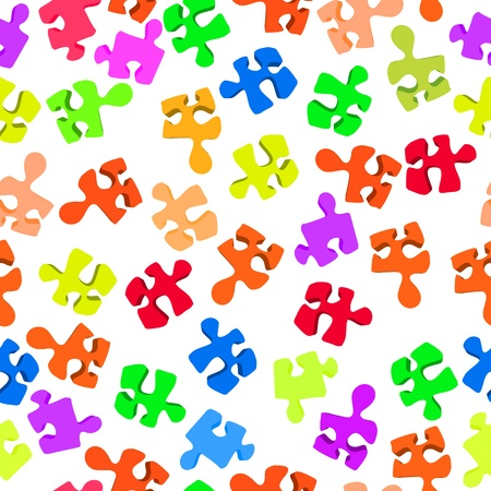 Seamless pattern with three-dimensional puzzle pieces against white background Stock Vector - 17503050