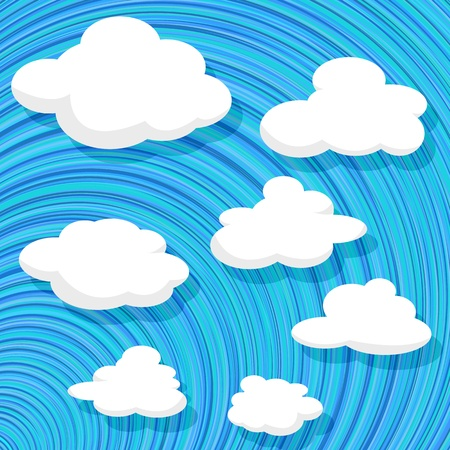 illustration of  white clouds over a blue sky pattern, isolated and grouped objects in separate layers ready for design Stock Vector - 17503049