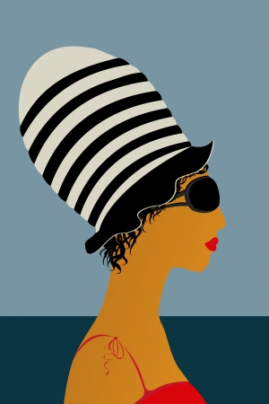 Profile of a girl at the beach wearing a large hat Stock Vector - 17503058