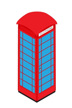 phone box: Isometric representation of a classic English telephone booth